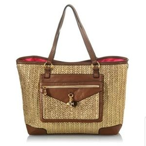 Juicy Couture Straw Tote Metallic Palm Dorrit Bag